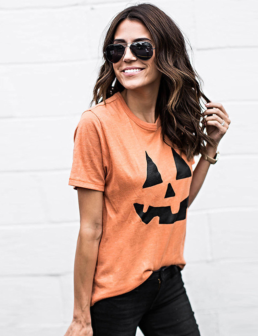 Women's Halloween T-shirt Graphic Prints Pumpkin Print Round Neck Tops Cotton Basic Halloween Basic Top Orange
