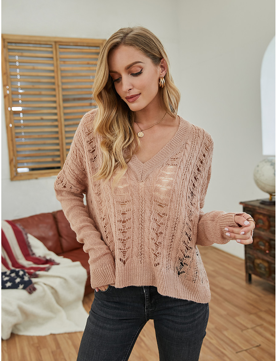 Women's Basic Knitted Solid Color Pullover Acrylic Fibers Long Sleeve Sweater Cardigans V Neck Fall Winter Blushing Pink