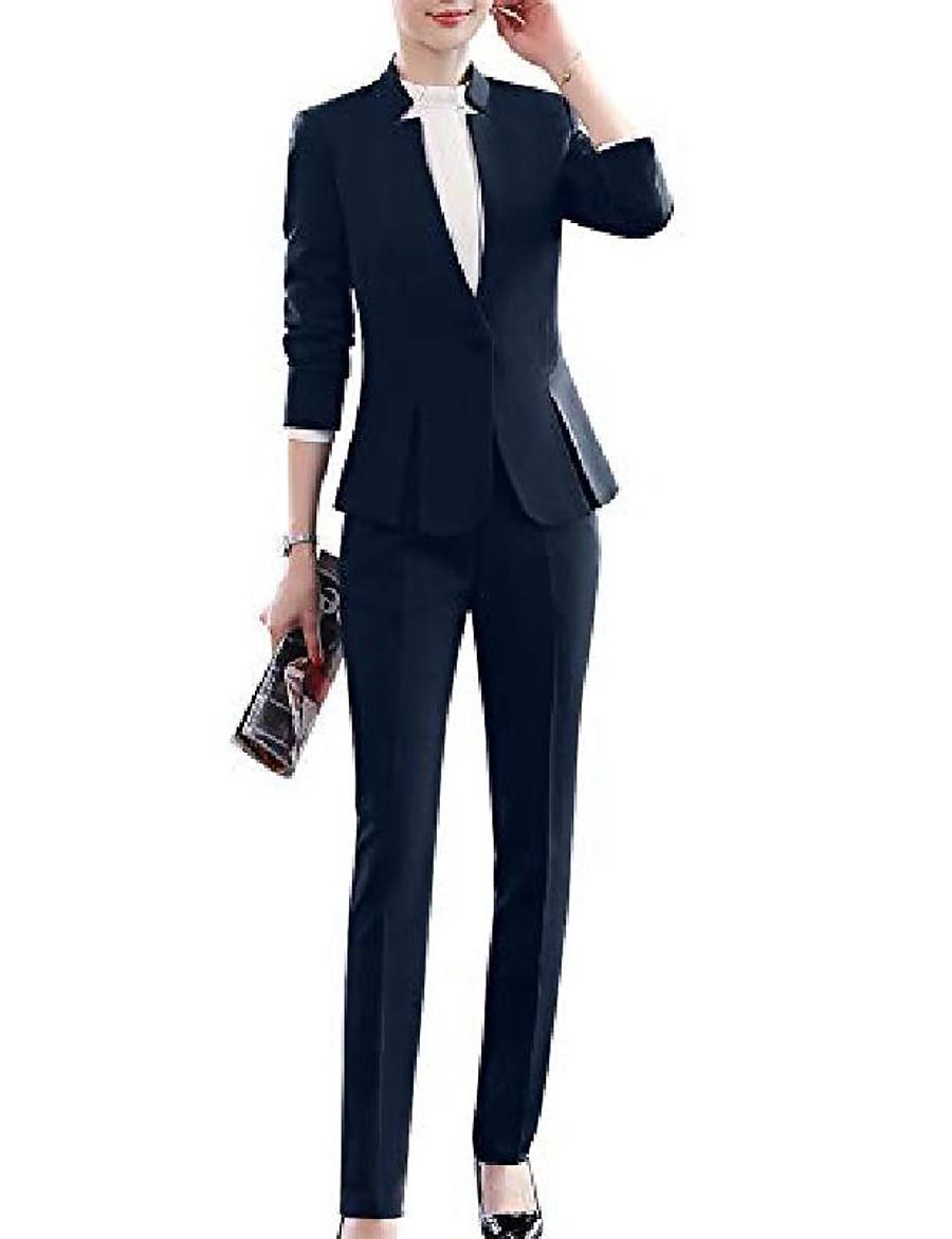 Women's Coat Solid Color Button Front Work Long Sleeve Coat Fall Spring Business Regular Jacket Red suit / V Neck