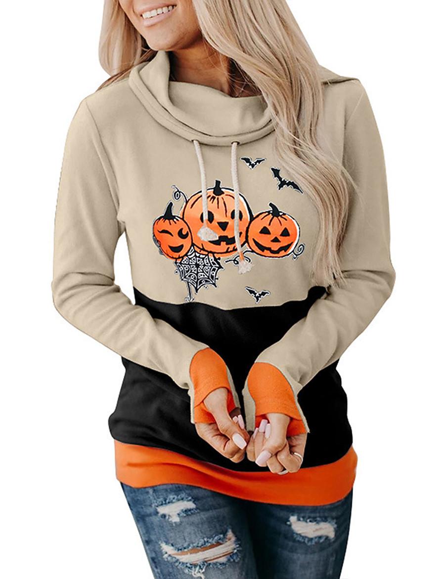 Women's Pullover Sweatshirt Color Block Graphic Pumpkin Party Basic Halloween Hoodies Sweatshirts  Black Orange Beige
