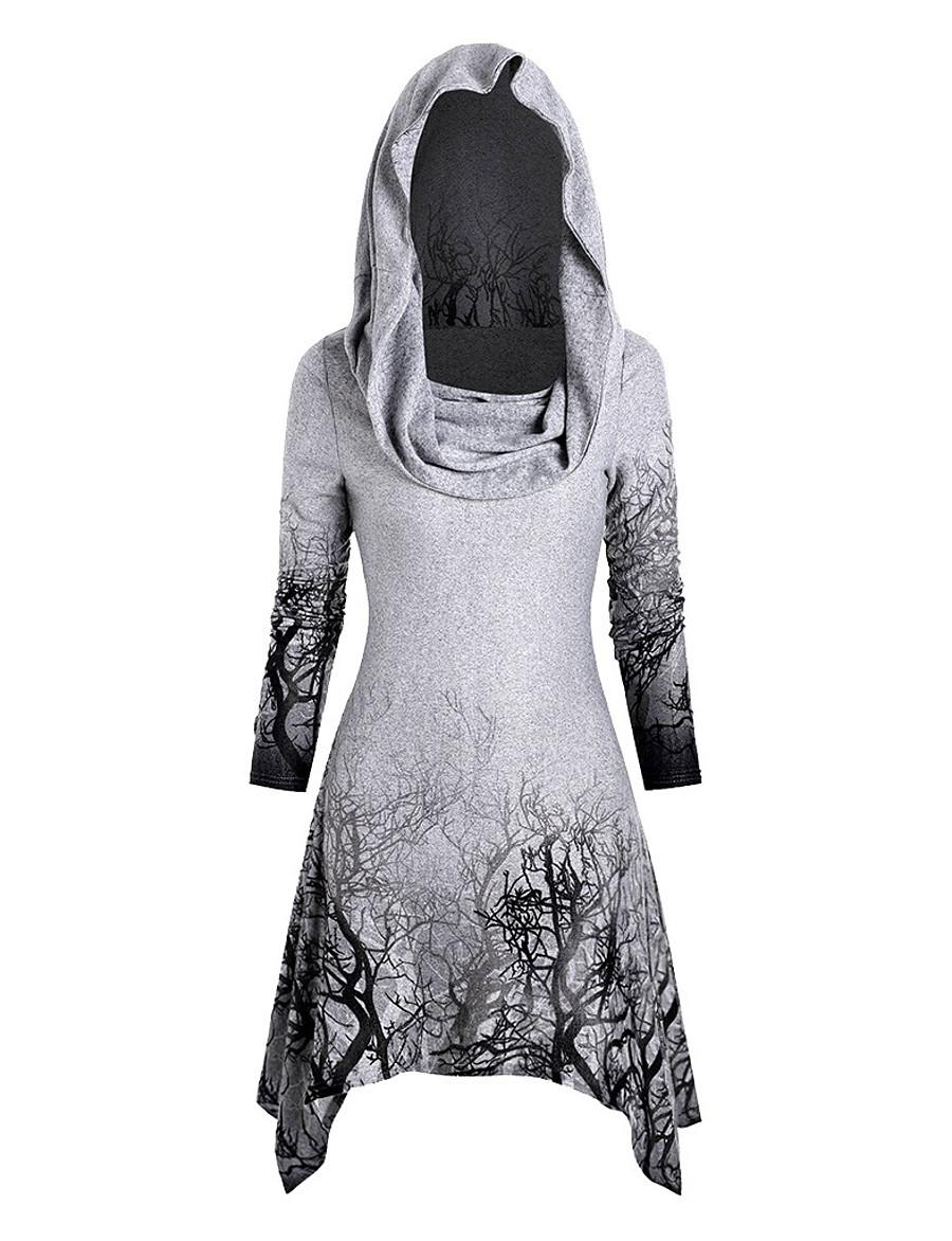 Women's Halloween Tunic Graphic Prints Long Sleeve Print Asymmetric Off Shoulder Tops Halloween Basic Top White Black Purple