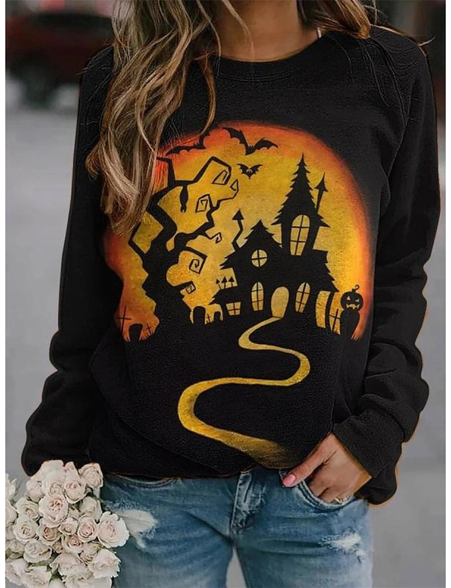 Women's Halloween Pullover Sweatshirt Cat Graphic Pumpkin Basic Halloween Hoodies Sweatshirts  Black Yellow Brown