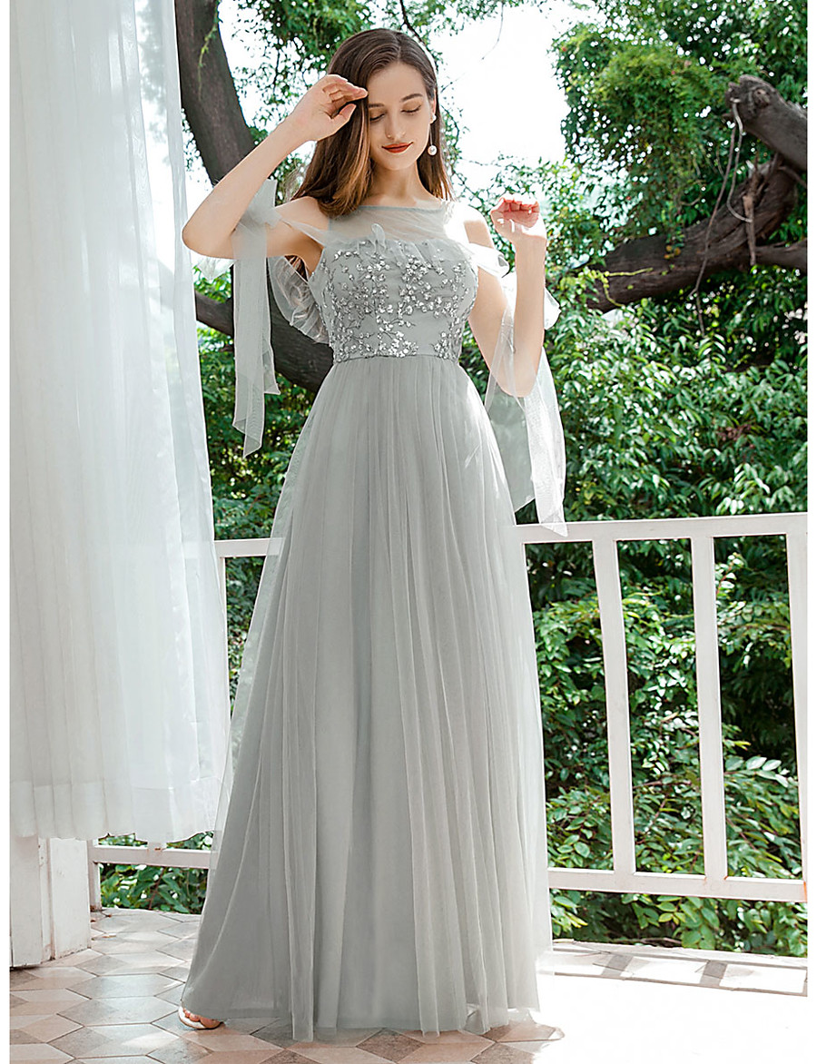 Women's A Line Dress Maxi long Dress Light gray Sleeveless Solid Color Sequins Fall Spring Round Neck Elegant Formal Party Slim 2021 S M L XL XXL