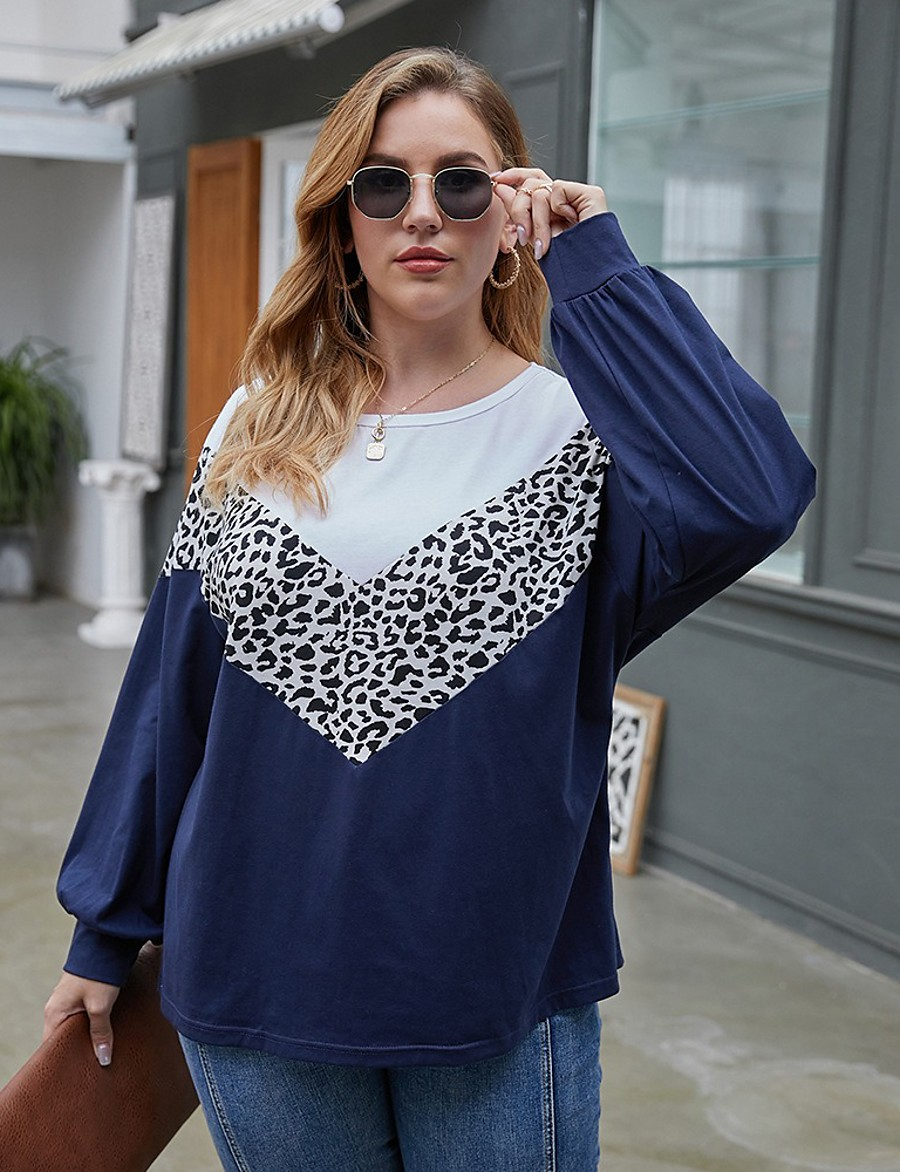 Women's T-shirt Leopard Color Block Long Sleeve Print Round Neck Tops Basic Basic Top Army Green Brown Navy Blue