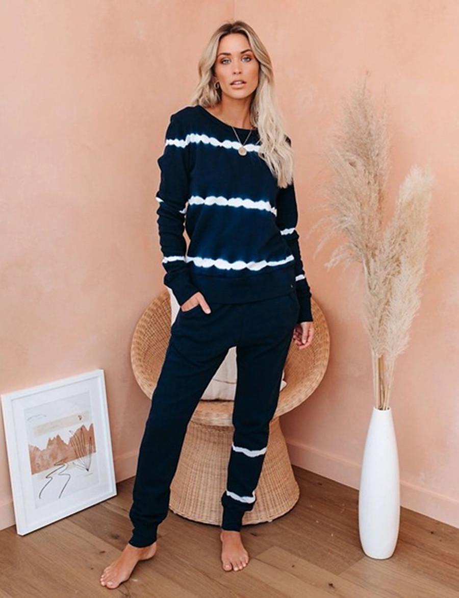 Women's Basic Tie Dye Two Piece Set Crew Neck Sweatshirt Pant Loungewear Tops