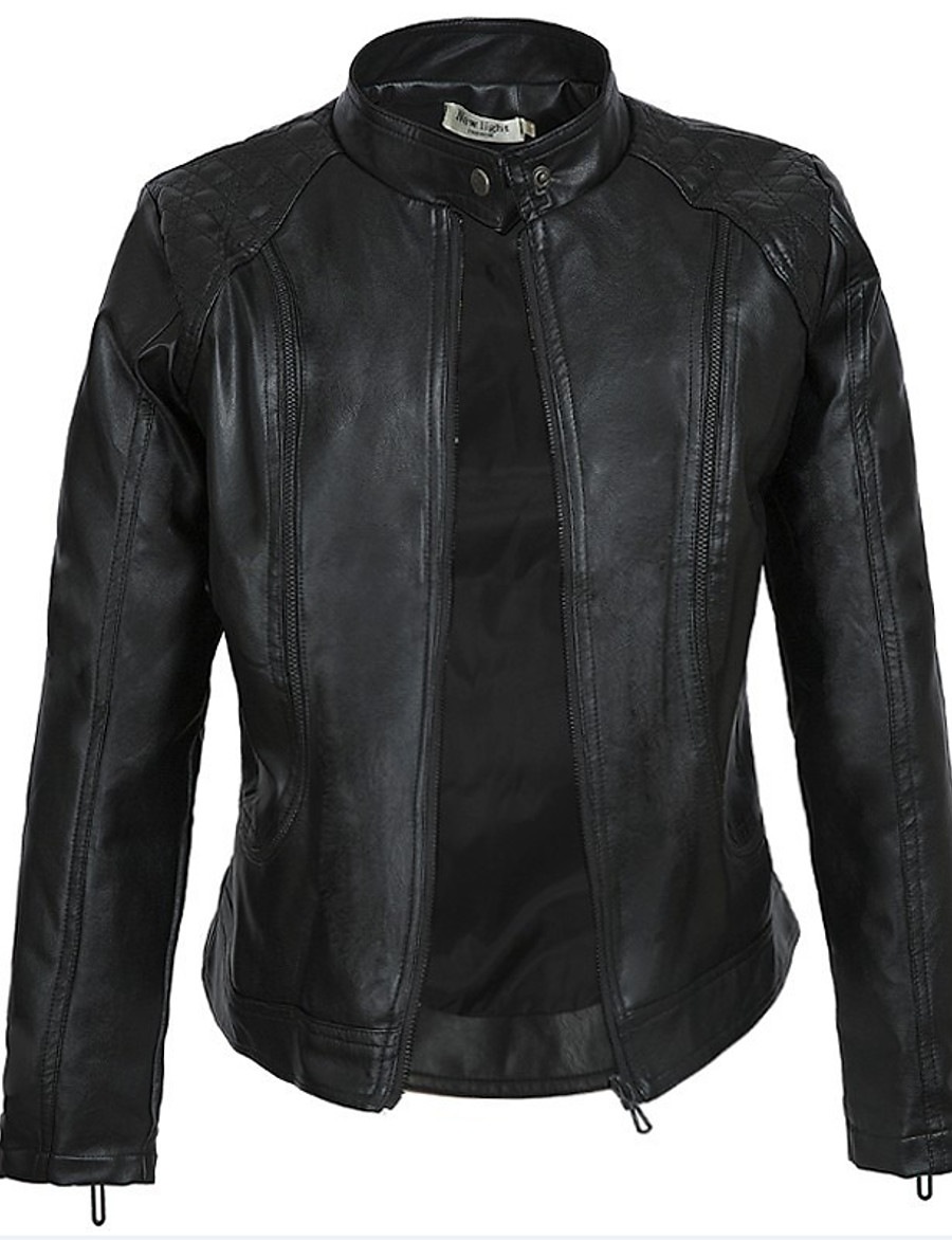 Women's Zipper Stand Collar Faux Leather Jacket Short Solid Colored Daily Basic Black S M L XL