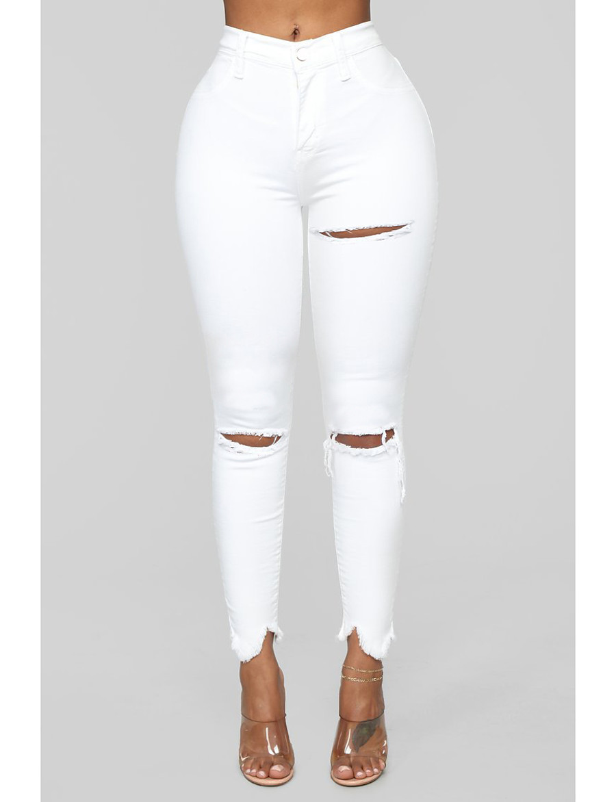Women's Basic Breathable Cotton Slim Daily Jeans Pants Solid Colored Full Length Hole High Waist White