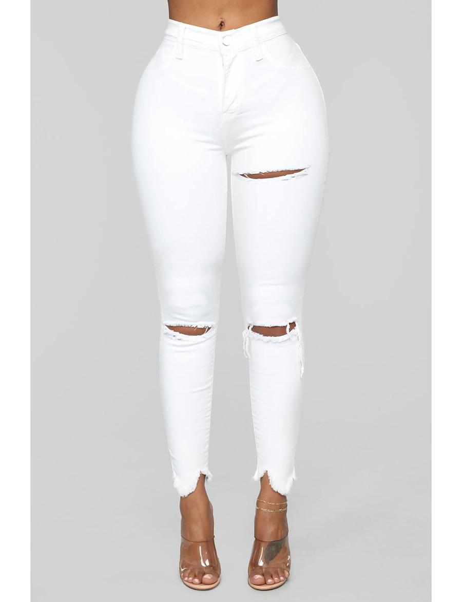 Femme basique Respirable Coton Mince Quotidien Jeans Pantalon Couleur Pleine Toute la longueur Troué Taille haute Blanche