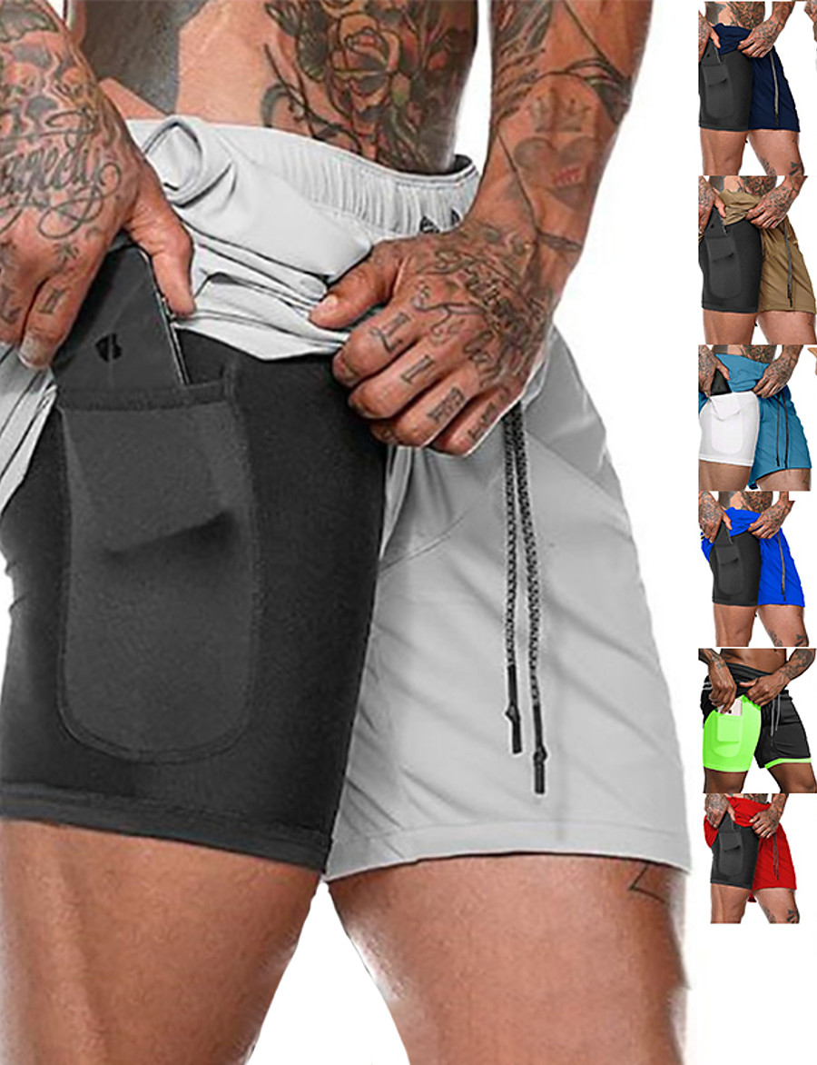 Men's Running Shorts Sports Outdoor Bottoms 2 in 1 with Phone Pocket Liner Fitness Gym Workout Running Jogging Trail Moisture Wicking Quick Dry Breathable Sport Solid Colored Dark Grey Cobalt Blue