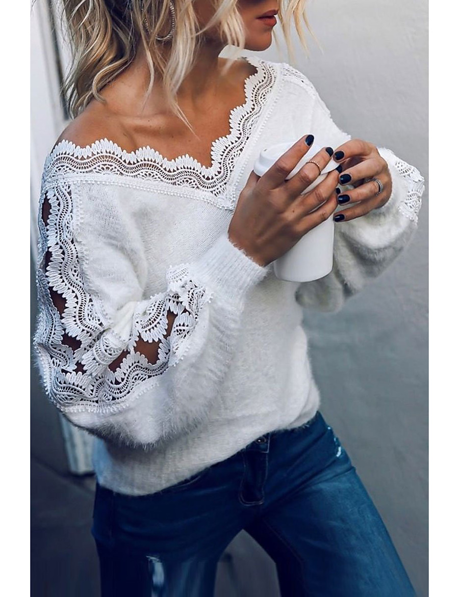 Women's Basic Knitted Lace Trims Solid Color Plain Pullover Acrylic Fibers Long Sleeve Sweater Cardigans V Neck Fall Winter White Black Gray