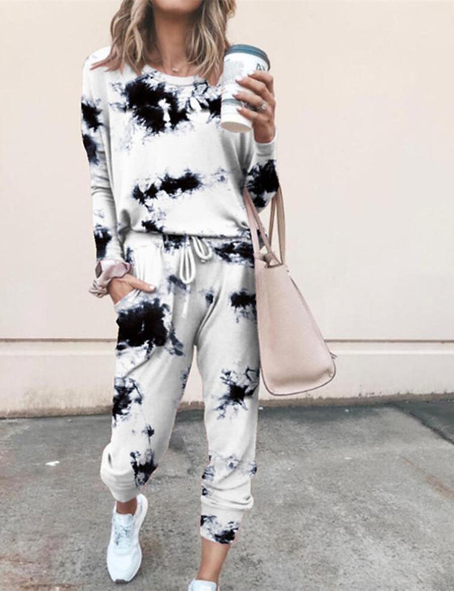 Women's Basic Tie Dye Two Piece Set Crew Neck Sweatshirt Pant Loungewear Drawstring Tops / Loose