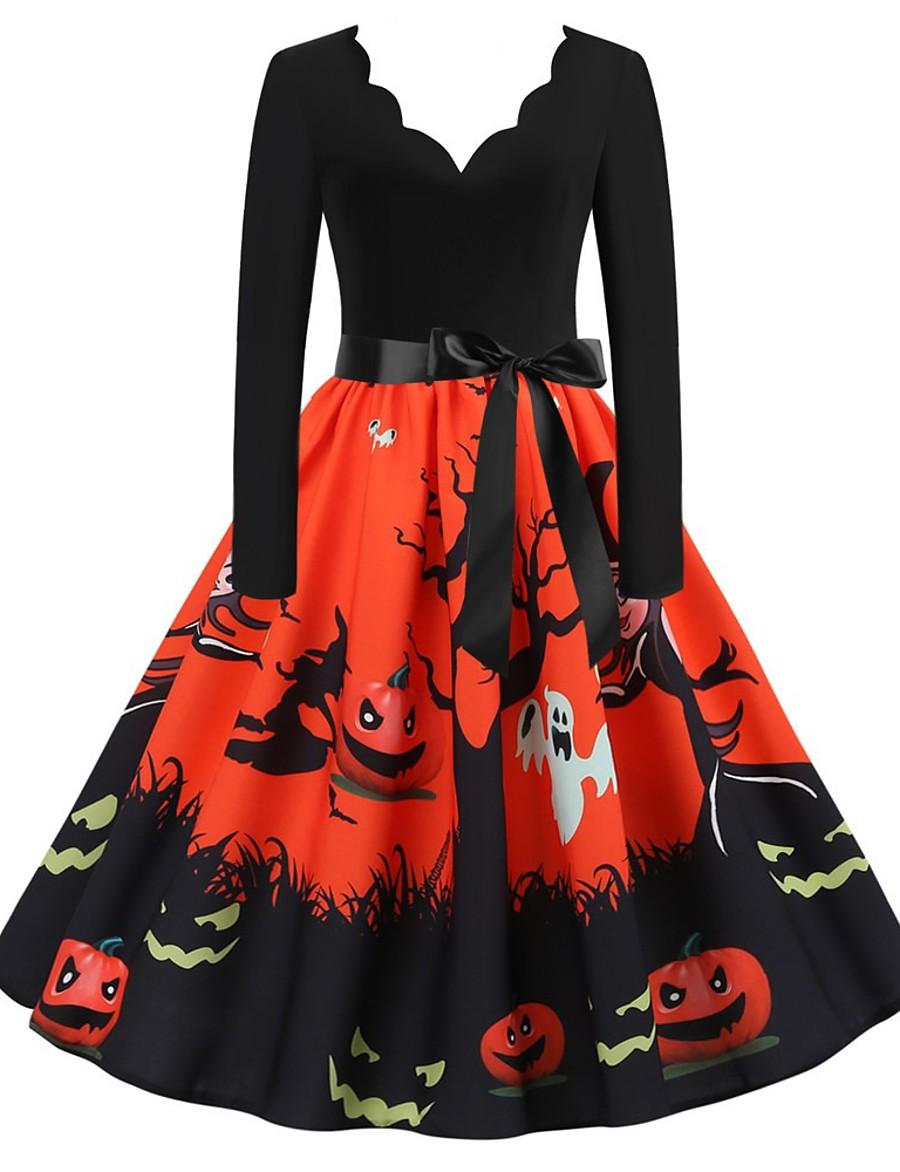 Halloween Women's A-Line Dress Knee Length Dress - Long Sleeve Print Bow Patchwork Print Summer V Neck Elegant Hot Vintage Slim 2020 White Blue Orange S M L XL XXL