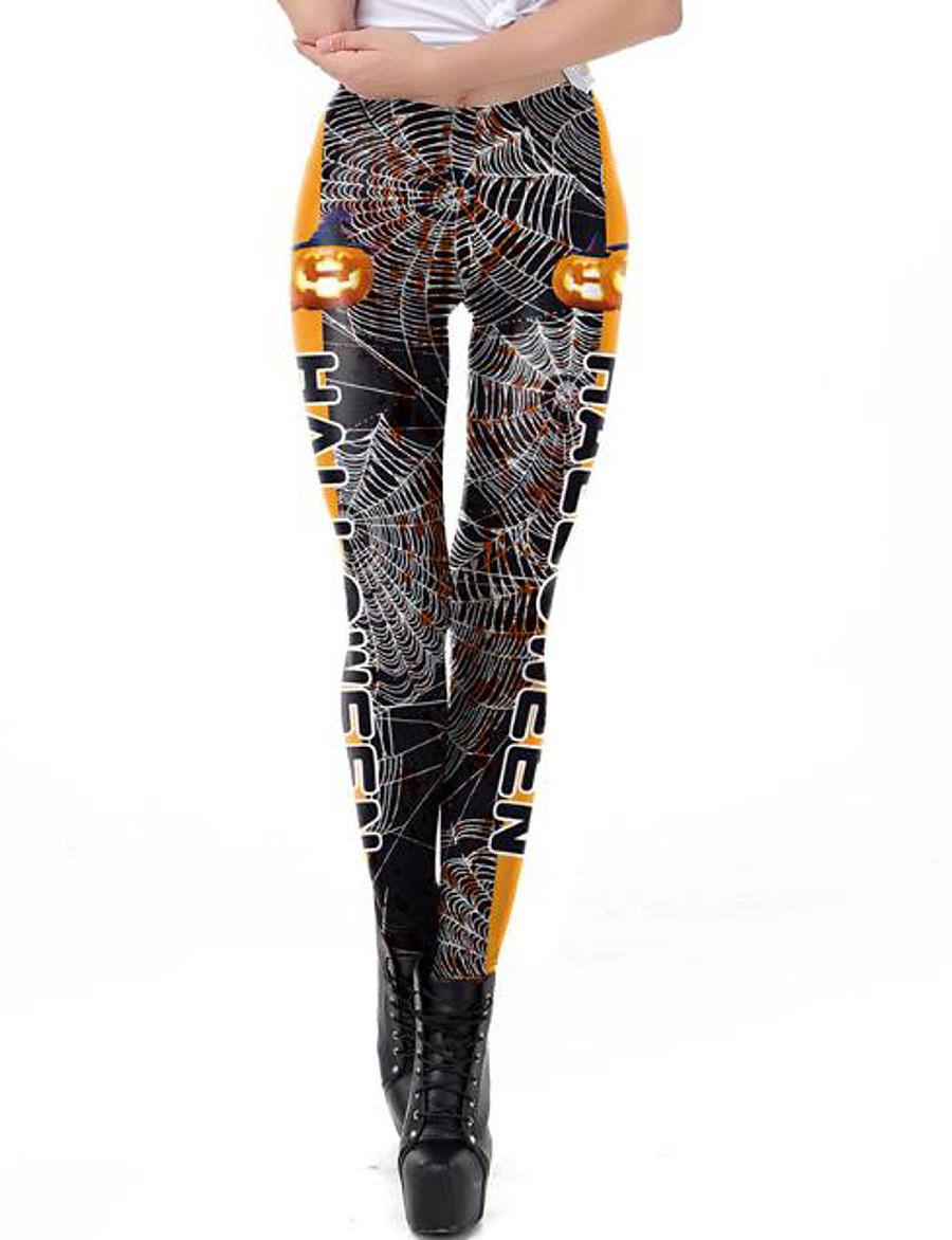 Femme Exagéré Respirable Mince Halloween Leggings Pantalon 3D Lettre Cheville Imprimé Taille haute Noir