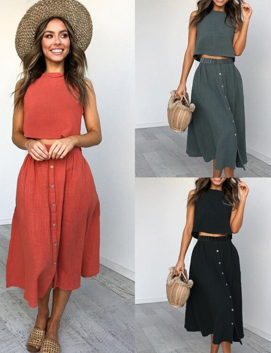 Women's Basic Solid Color Two Piece Set Cotton Tank Skirt Patchwork Tops / Loose