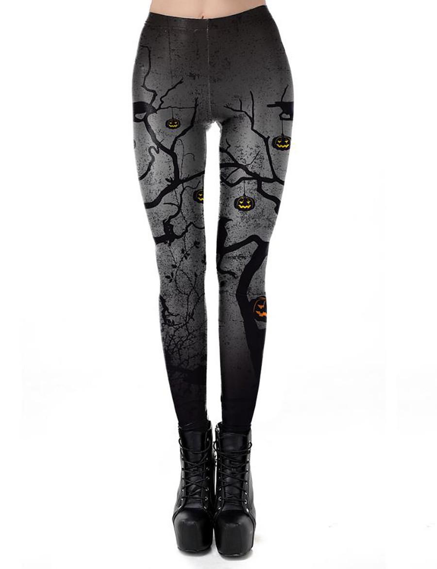 Women's Exaggerated Breathable Slim Halloween Leggings Pants Plants Ankle-Length Print High Waist Black