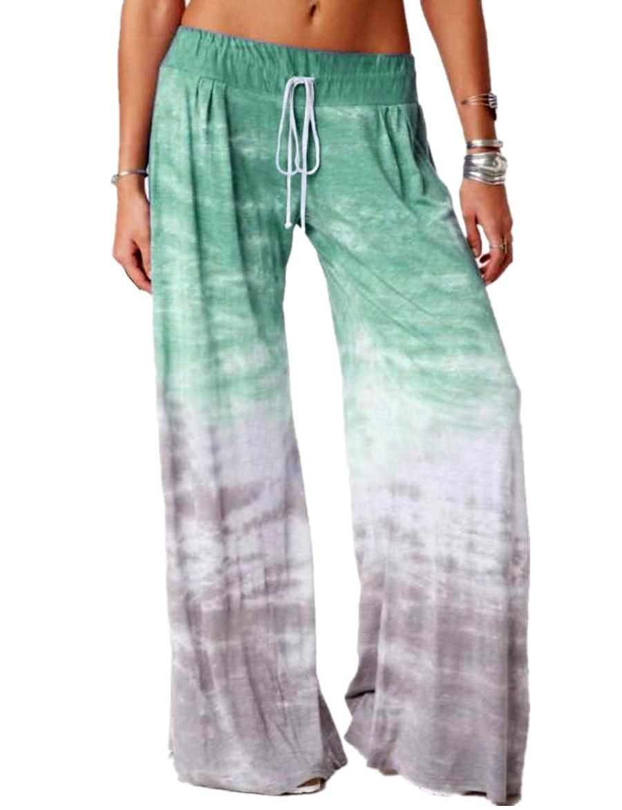 Women's Basic Breathable Loose Daily Wide Leg Pants Tie Dye Full Length Blue Purple Wine