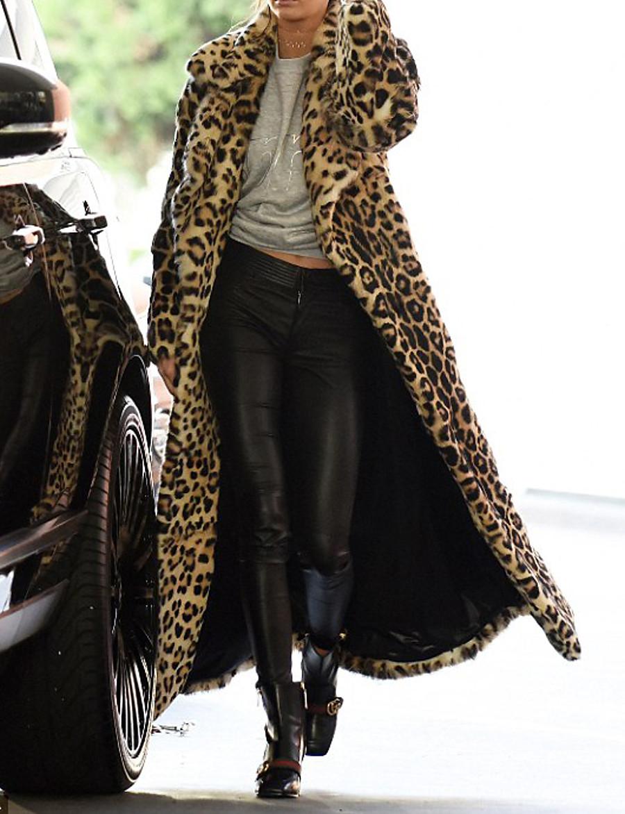 Women's Faux Fur Coat Regular Leopard Print Daily Khaki M L XL XXL