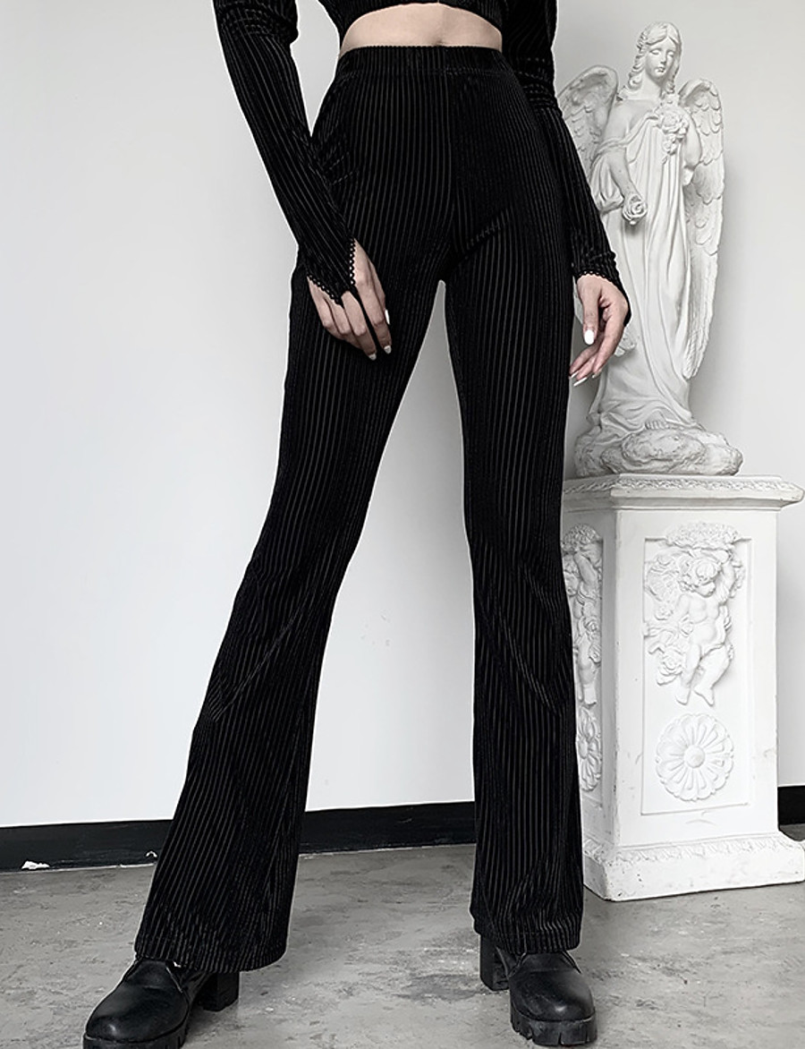 Women's Streetwear Breathable Cotton Slim Daily Bootcut Pants Striped Full Length High Waist Black