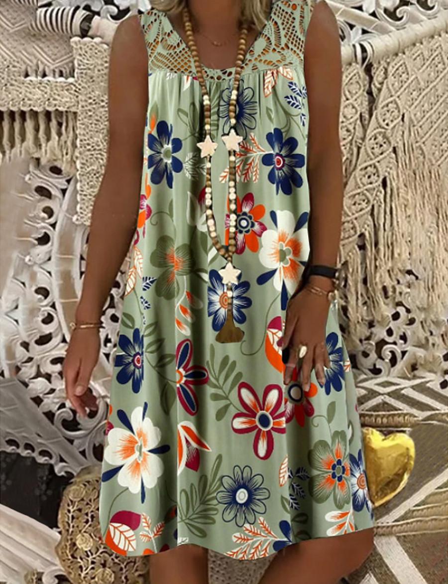 Women's Shift Dress Knee Length Dress Army Green Fuchsia White Black Navy Blue Sleeveless Floral Print Summer Round Neck Hot Mumu Beach vacation dresses Loose 2021 M L XL XXL 3XL 4XL 5XL / Plus Size