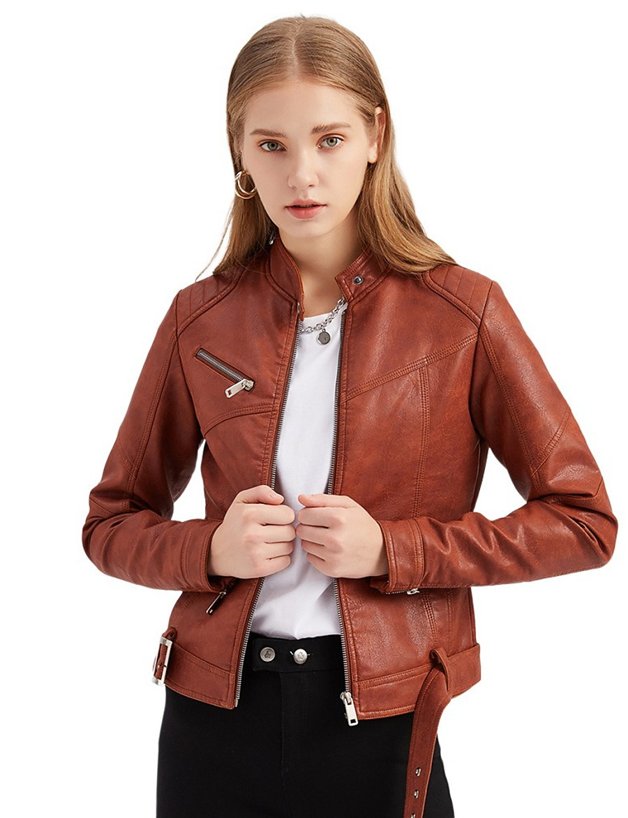 Women's Zipper Stand Collar Faux Leather Jacket Short Solid Colored Daily Basic Rivet Blushing Pink Dark Gray Brown S M L XL
