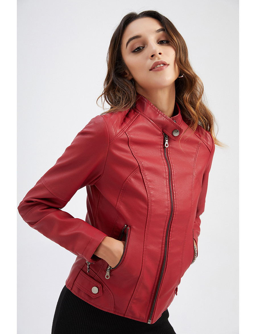Women's Stand Collar Faux Leather Jacket Regular Solid Colored Daily Basic Black Red Camel Khaki S M L XL