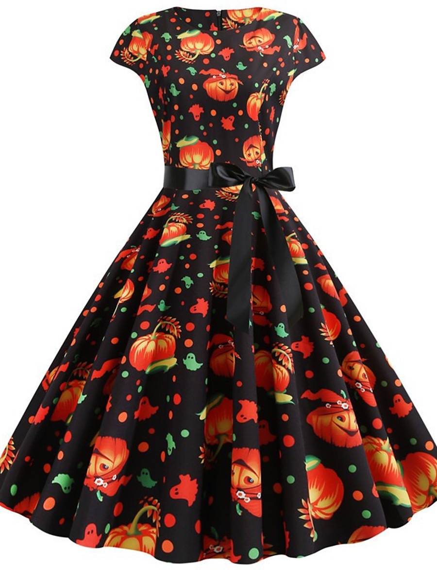 Halloween Women's A-Line Dress Knee Length Dress - Short Sleeve Pumpkin Print Bow Print Summer Vintage Slim 2020 White Black S M L XL XXL