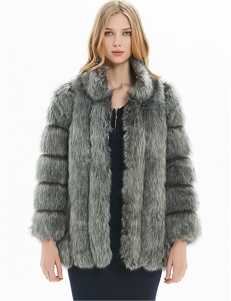 Women's Fall & Winter Open Front Stand Collar Fur Coat Regular Solid Colored Daily Basic Fur Trim Faux Fur White Black Blue Blushing Pink S M L XL