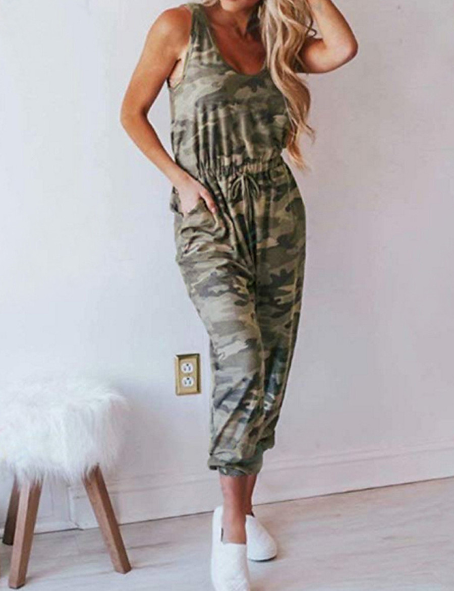Women's Basic Army Green Jumpsuit Camo / Camouflage Drawstring