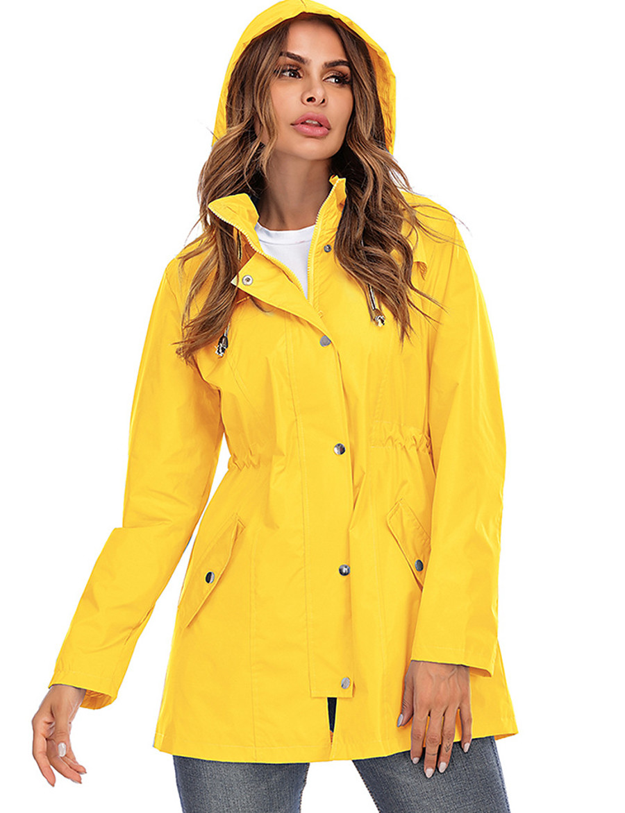 Women's Parka Parka Solid Colored POLY Black / Blue / Yellow S / M / L