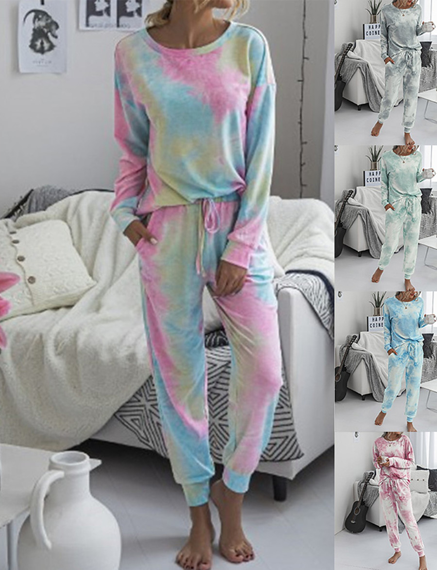 Women's Sweatsuit 2 Piece Set Drawstring Loose Fit Halo Dyeing Crew Neck Tie Dye Sport Athleisure Sweatshirt and Pants Outfits Clothing Suit Long Sleeve Comfortable Everyday Use Causal Casual Daily
