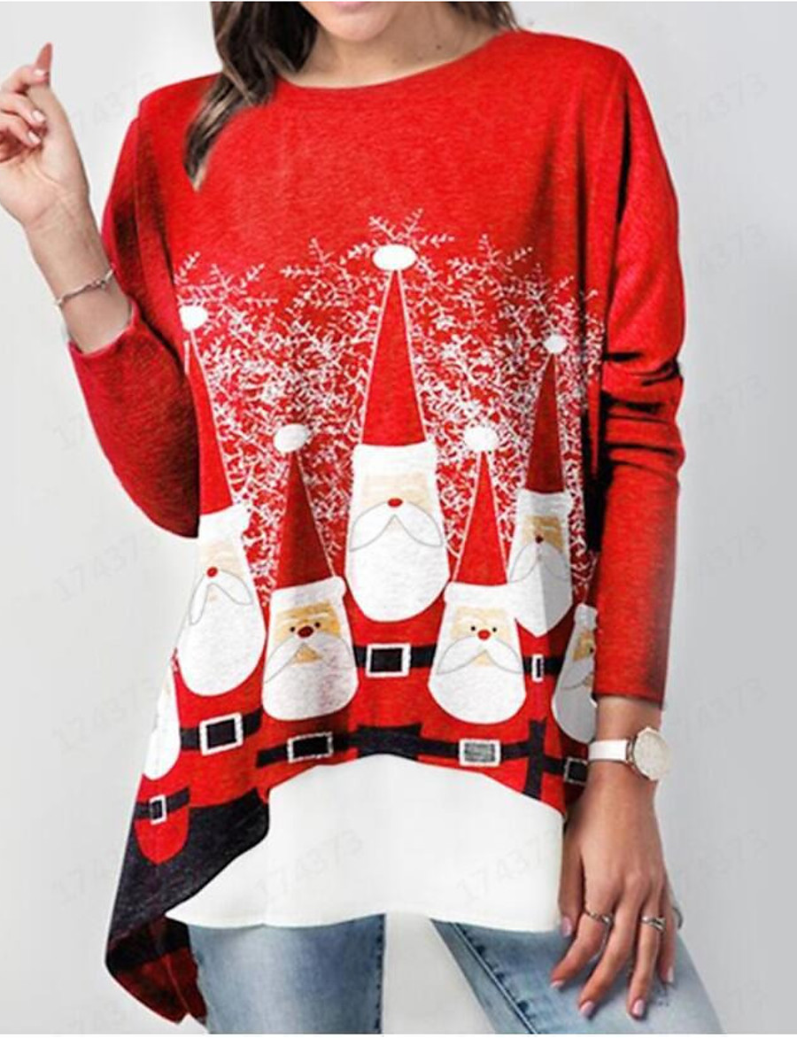 Women's Christmas Plus Size Tunic Graphic Prints Long Sleeve Print Round Neck Tops Loose Elegant Christmas Basic Top Red