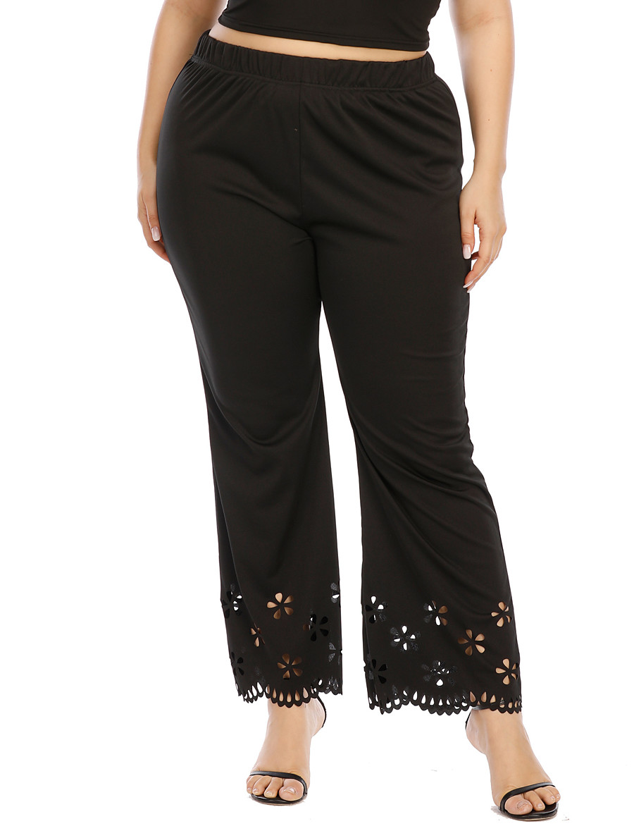 Women's Basic Breathable Plus Size Daily Chinos Pants Solid Colored Full Length High Waist Black