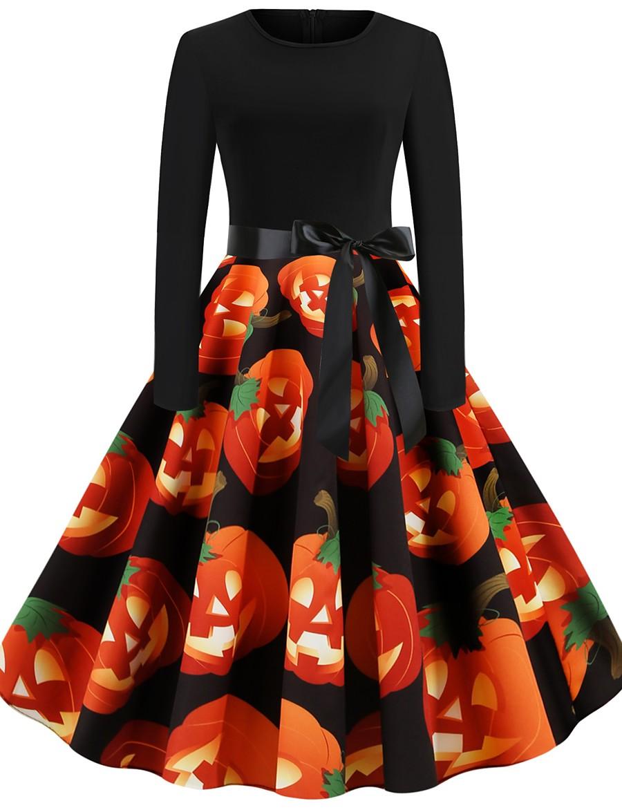 Halloween Women's A-Line Dress Knee Length Dress - Long Sleeve Print Bow Print Spring Fall Elegant Hot Vintage Party Slim 2020 Orange S M L XL XXL