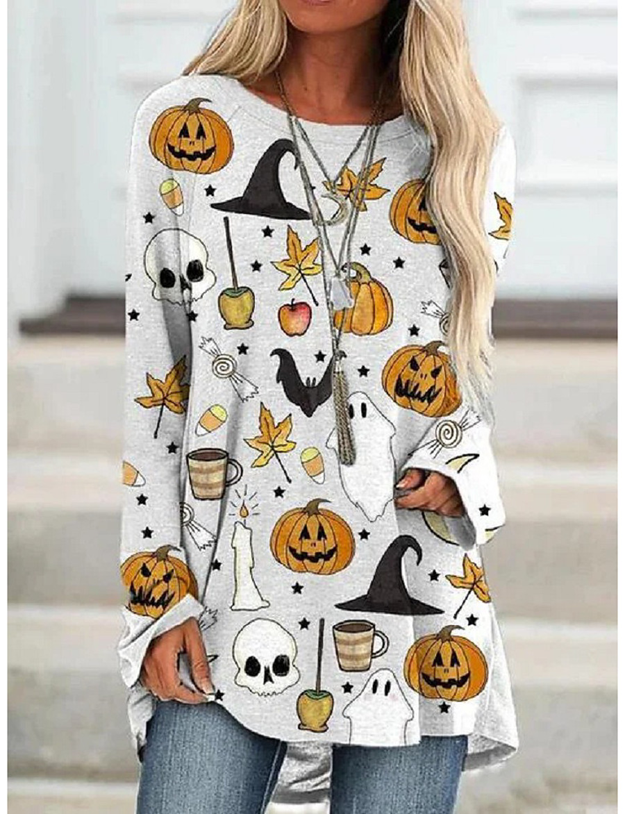 Women's Halloween T-shirt Graphic Prints Long Sleeve Print Round Neck Tops Loose Basic Halloween Basic Top White