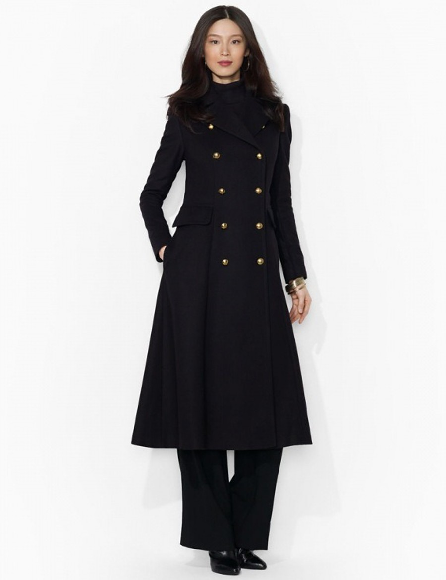 Women's Coat Solid Colored Basic Fall & Winter Long Daily Long Sleeve Wool Coat Tops Black