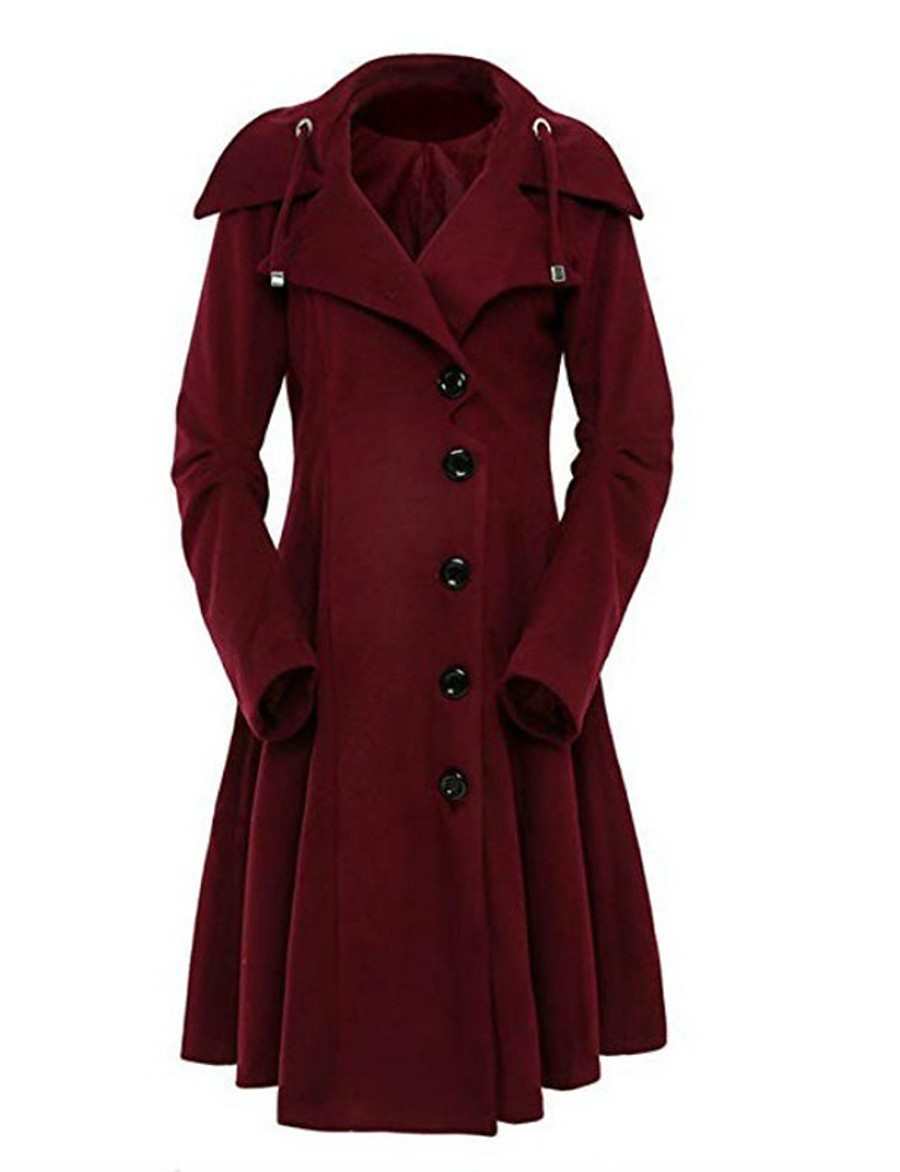 Women's Fall & Winter Single Breasted Coat Long Solid Colored Daily Basic Black Red Wine Camel S M L XL