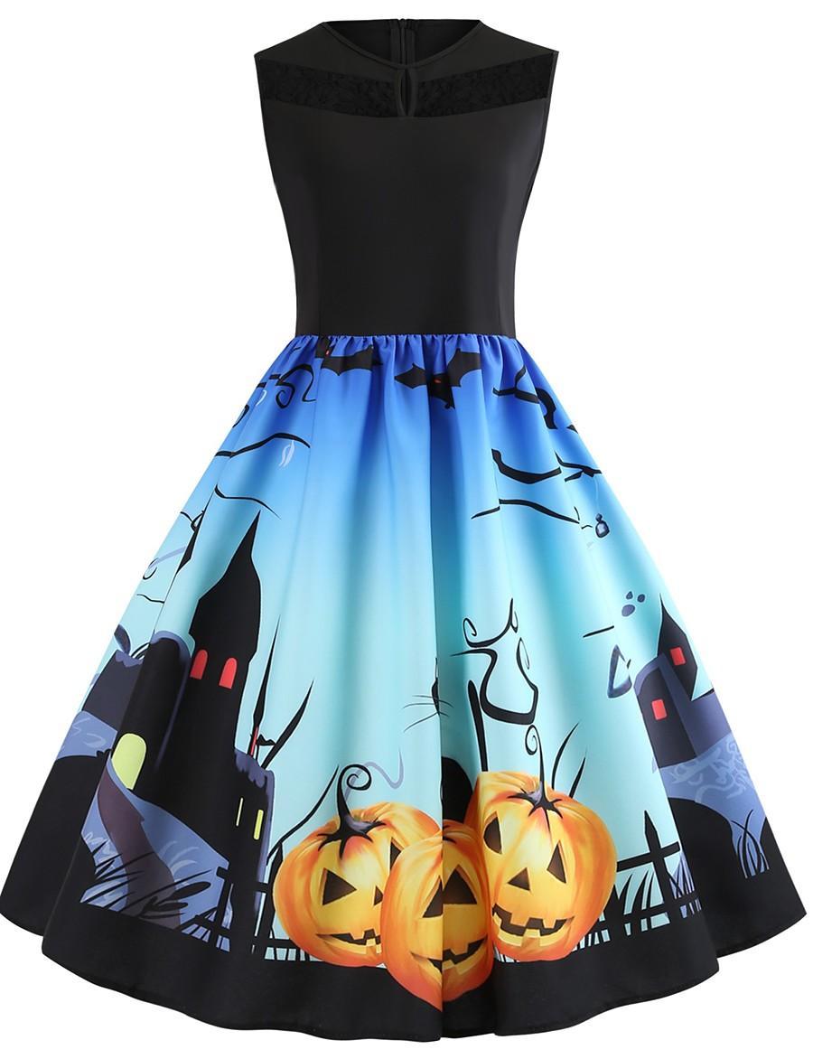Women's Halloween A Line Dress Knee Length Dress Black Sleeveless Cat Pumpkin Print Lace Patchwork Print Summer Round Neck Hot Vintage 2021 S M L XL XXL 3XL