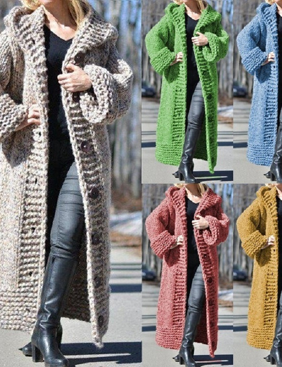Women's Open Front Sweater Coat Long Solid Colored Daily Basic Camel Black Blue Red S M L XL