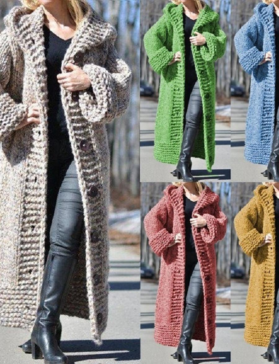 Femme Front ouvert Manteau pull Longue Couleur Pleine Quotidien basique Chameau Noir Bleu Rouge S M L XL