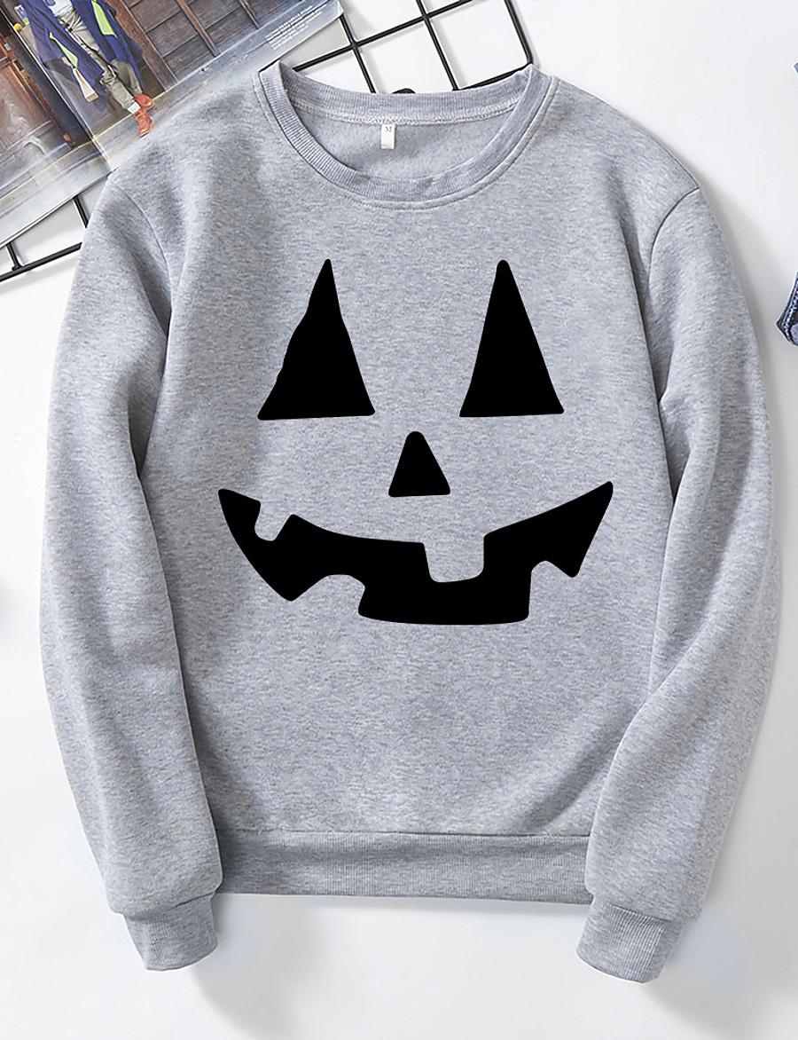 Women's Pullover Sweatshirt Graphic Halloween Casual Basic Halloween Hoodies Sweatshirts  Black Yellow Blushing Pink