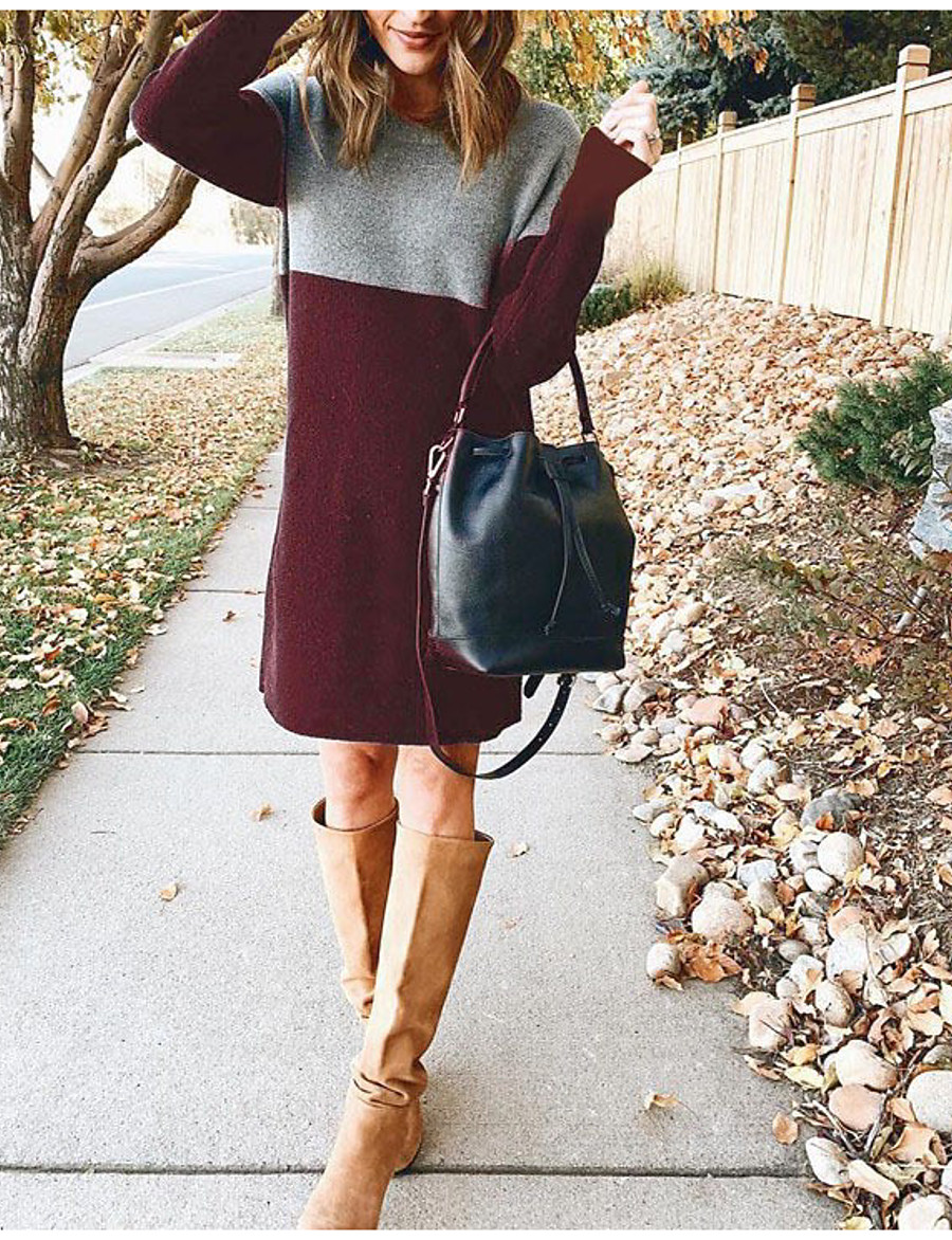 Women's Sweater Jumper Dress Knee Length Dress - Long Sleeve Color Block Fall Winter Casual Going out Slim 2020 Black Wine Army Green Brown Navy Blue S M L XL XXL 3XL