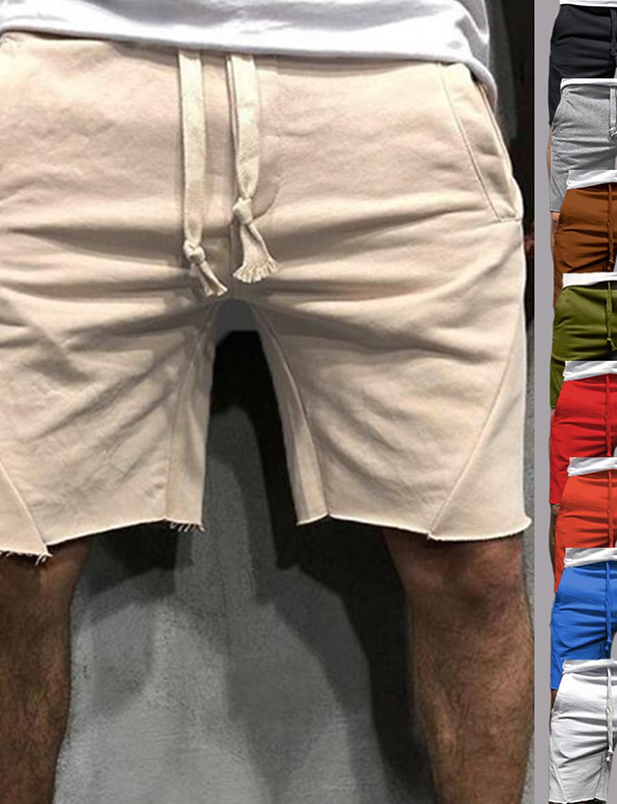 Men's Athletic Running Shorts Sweatshorts Shorts Bottoms Cotton Drawstring Pocket Fitness Gym Workout Running Jogging Training Summer Breathable Soft Sport Solid Colored Blue Grey Light Grey Camel
