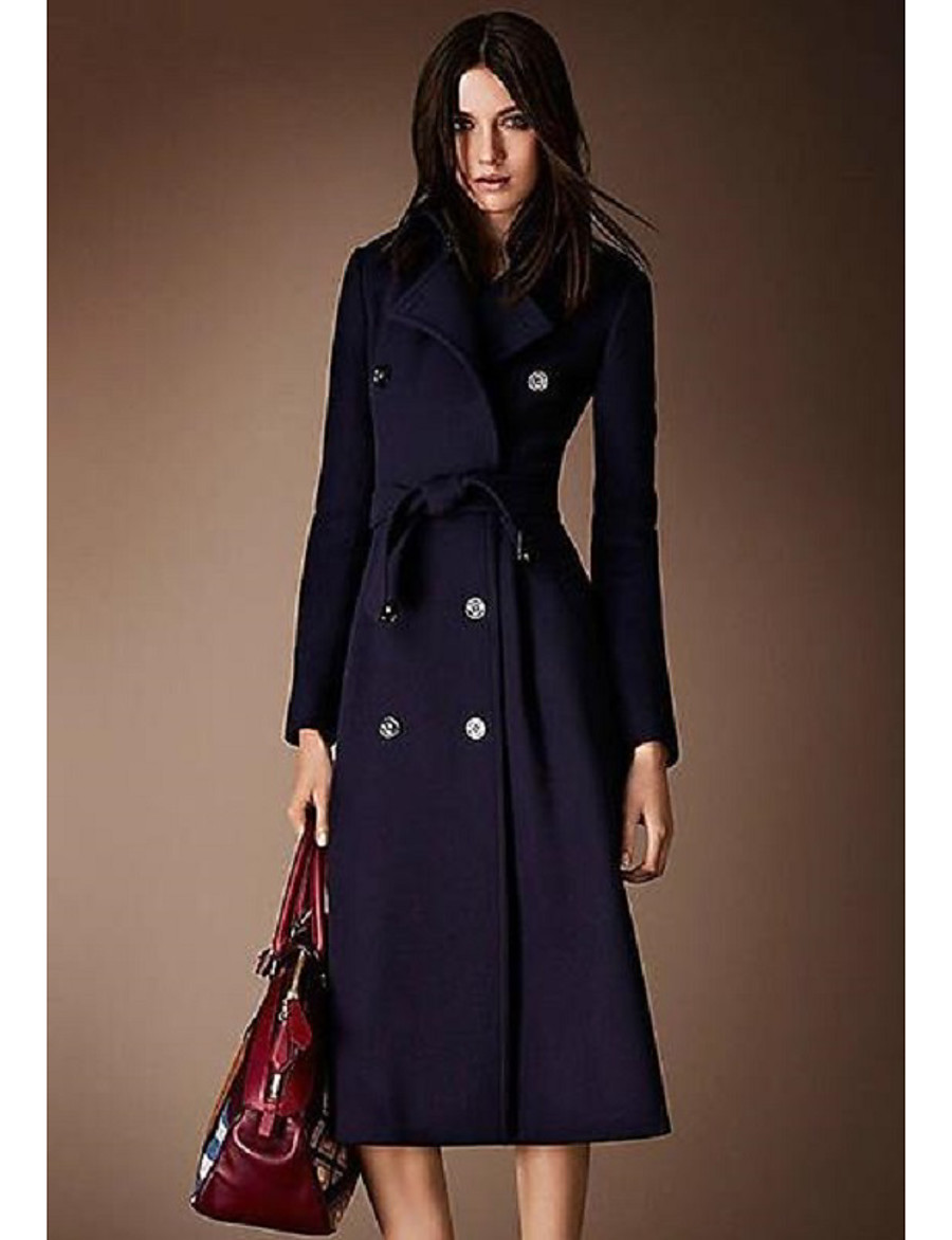 Women's Fall & Winter Coat Long Solid Colored Daily Basic Wool Navy Blue S M L XL