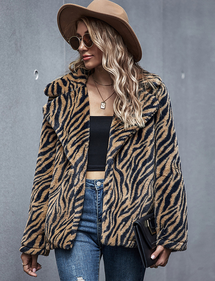 Women's Fall & Winter Coat Regular Leopard Daily Basic Patchwork Light Brown S M L / Going out
