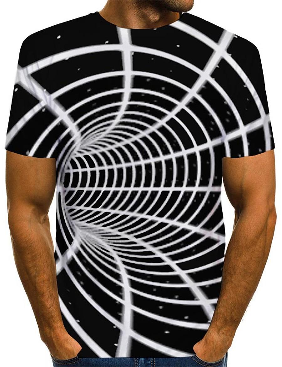 Men's T shirt Shirt 3D Print Graphic Optical Illusion Print Short Sleeve Daily Tops Streetwear Round Neck Gray / White Blue Purple