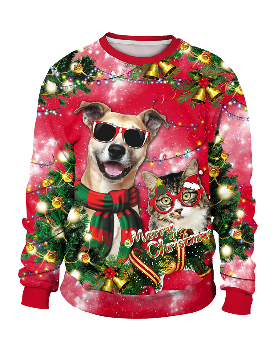 Men's Women's Pullover Sweatshirt Graphic Daily Other Prints Christmas Hoodies Sweatshirts  Loose Red