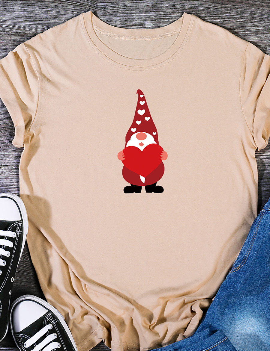 Women's Christmas T shirt Graphic Prints Print Round Neck Tops 100% Cotton Christmas Basic Top White Black Purple