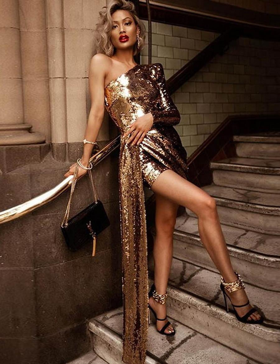 Women's Short Mini Dress Sheath Dress Gold Long Sleeve Split Solid Color One Shoulder Fall Winter Party Hot Elegant 2021 Regular Fit S M L XL