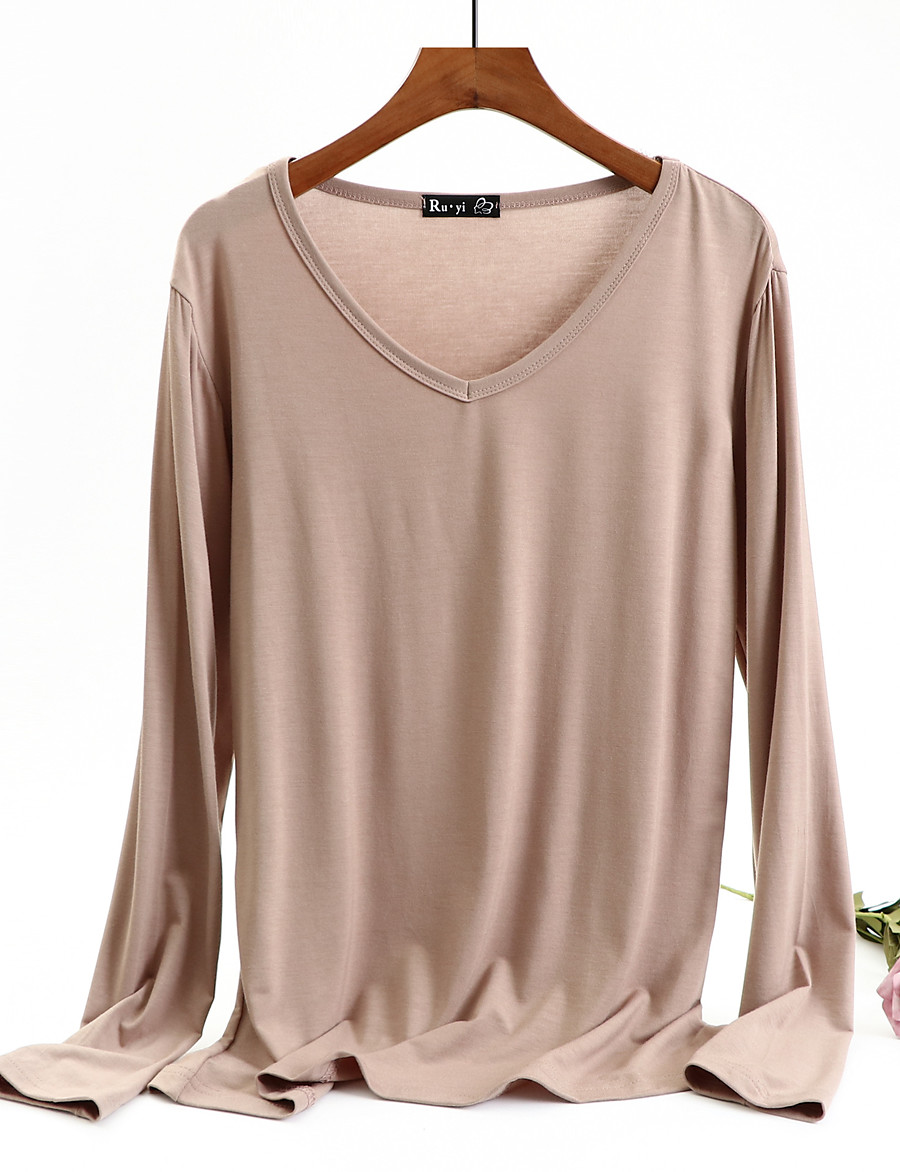 Women's T-shirt Solid Colored Long Sleeve V Neck Tops Loose Basic Basic Top White Black Red