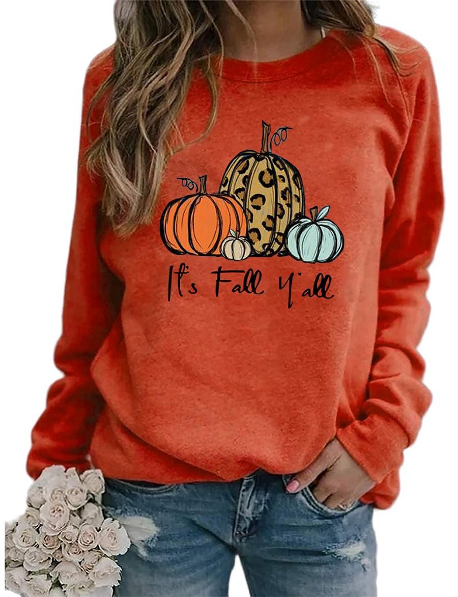 Women's Halloween Pullover Sweatshirt Print Letter Pumpkin Halloween Hoodies Sweatshirts  Cotton Loose Blue Purple Orange